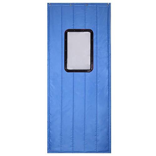 ZXL gordijn voor deur lichtblauw warmte-isolatie warmte-isolatie katoen vilt voordeur broeikas met venster, personaliseerbaar (afmetingen: 150 x 210 cm)