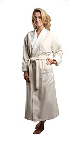 MONARCH Terry Lined Microfiber Hotel Robe - Luxury Spa Bathrobe Cypress (Medium, Natural)