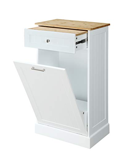 Northwood Calliger Tilt Out Trash Bin Cabinet or Tilt Out Laundry Hamper - Wooden Cabinet Trash Can toHide Trash, add Countertop Space, Keep Pets Out! Now Easier Assembly!