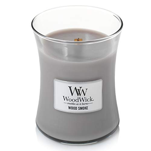 WoodWick mittelgroße Duftkerze im Sanduhrglas mit knisterndem Docht, Wood Smoke, bis zu 60 Stunden Brenndauer