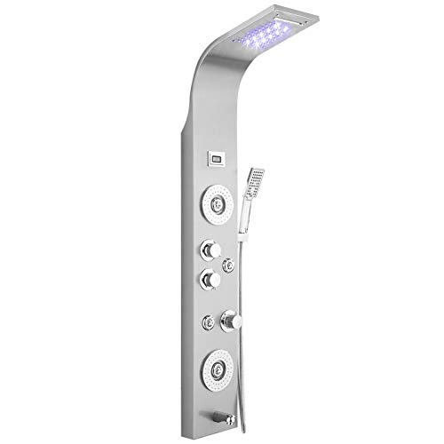 Activane Rainfall Waterfall Shower Tower Panel System Stainless Steel Shower Panel Tower System,LED Shower Head 5-Function Faucet Rain Massage System with Vertical Adjustable Shower Arm