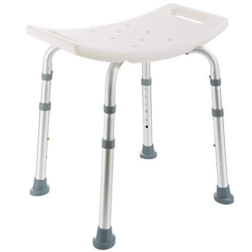 Arebos Duschhocker | Höhenverstellbar | Aluminium-Rahmen | Anti-Rutsch-Gummifüße | Sitzfläche mit Sicherheitsgriffen | Duschhilfe | Duschstuhl | Duschsitz | Badhocker
