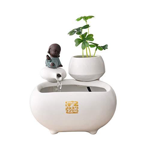 YAHUA LI Handmade Ceramic Little Monk Water Fountain Ornaments,Office Desktop Mini Fish Tank Feng Shui Waterscape Home Decoration Gifts,1716.514Cm