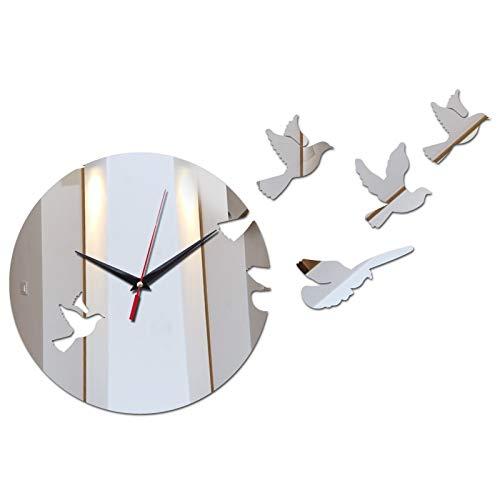 Nologo KPPTO Pared Moda decoración hogar de Aves Relojes Adhesivos de Pared Bricolaje geométricos Modernos Espejo de Estilo Relojes de Pared de acrílico de Bricolaje