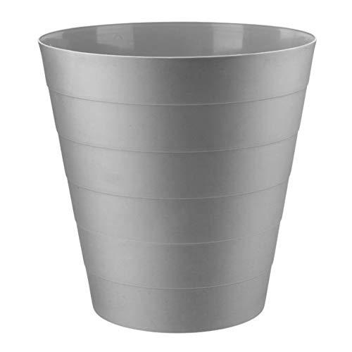 Home Plus Papierkorb mit Blumenmuster, 7,7 l, leicht, einfarbig, Grau, 6 Liter