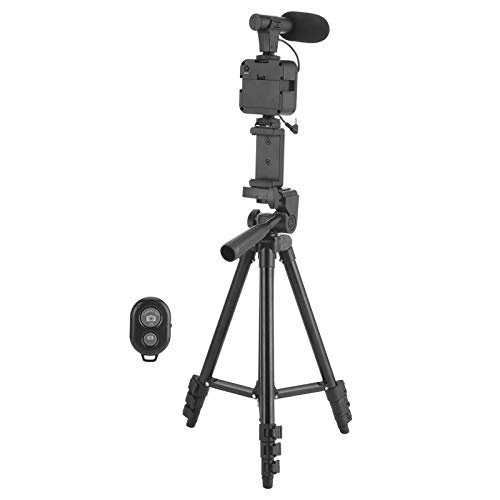 Jacksing Kit de micrófono de trípode con luz de Relleno, Kit de Video de trípode Universal, Ajustable con Bolsa de Almacenamiento Regulable al Aire Libre en Interiores para grabación de Video en Vivo