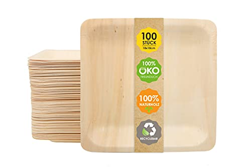 JSM Hochwertiges Einweggeschirr I 100 Teller aus Bambus...