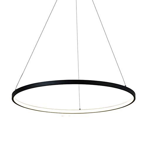 36W LED-Pendelleuchte Pendellampe Schwarz Aluminium Rund Ring Hängeleuchte Höhenverstellbar Deckenlampe für Wohnzimmer Esszimmer Küche Esstisch Schlafzimmer Lampe,φ60CM,4000K Natürliches Licht