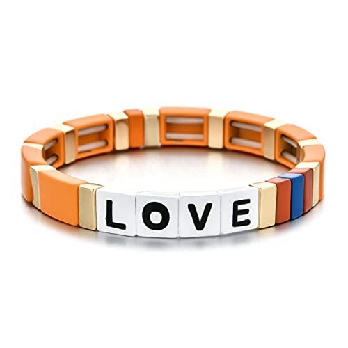 Pulsera colorida con dijes, bonitas pulseras de arcoíris bohemias con letras elásticas de amor para mujer, regalo de joyería