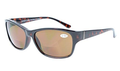 Eyekepper Sonne Leser Kunststoffrahmen Runde Bifokale Sonnenbrillen DEMI Braun Grau Linsen +2.00