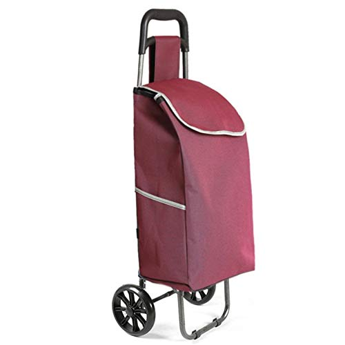 QXTT Lightweight Foldable Shopping Trolley Cart Suitcase Luggage 2 PU Wheel Ergonomic Handle Collapsible Pull Carts Oxford Cloth Shopping Bag Cart Large Capacity 30L