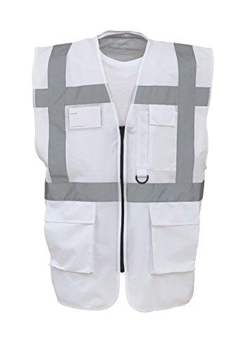 Workwear World Executive Warnweste, hohe Sichtbarkeit, Durchgehender Reißverschluss, Weiß Gr. L, weiß