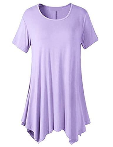 SLYZ Camiseta De Manga Corta De Manga Corta De Talla Grande De Verano para Mujer Camiseta Holgada De Cuello Redondo De Color Sólido con Fondo