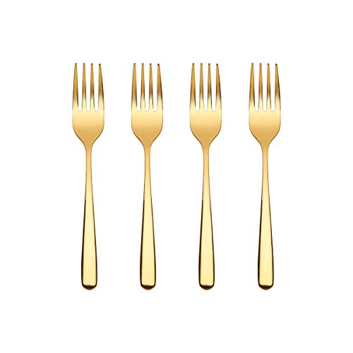 Butlers QUEENS Kuchengabeln 4er-Set in Gold - kleine Gabeln aus Edelstahl für Kuchen oder Deserts - weitere Farben