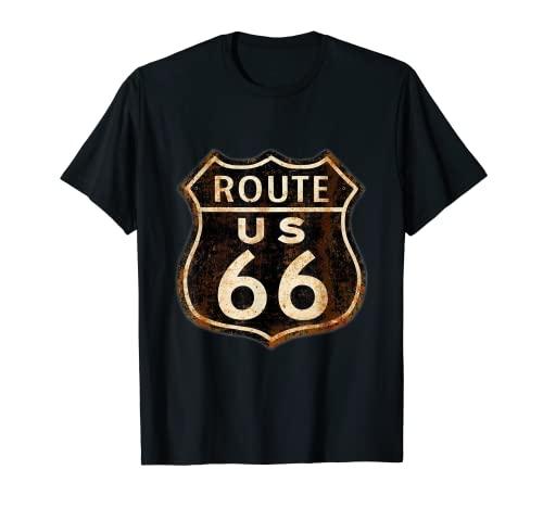 Camiseta de manga corta para motorista de Road Route 66 Camiseta