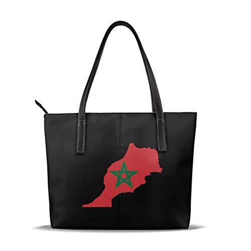 Bolso de hombro de cuero de gran capacidad - Bolso de hombro con mapa de la bandera de Marruecos para hombres y mujeres
