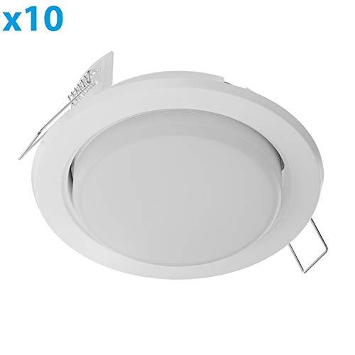 ledscom.de LED Einbauring Zobe Slim GX53 weiß matt rund 6.3W=40W 450lm warm-weiß 107mm Ø Lochkreis 90mm Ø, 10 STK.