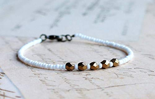 LOVEKUSH White and Bronze Seed Bead Bracelet, Stacking Bracelet, Beaded Bracelet, Minimalist Bracelet, Czech Glass Beads Bracelet, Simple Bracelet 3-5mm Code- WAR9101