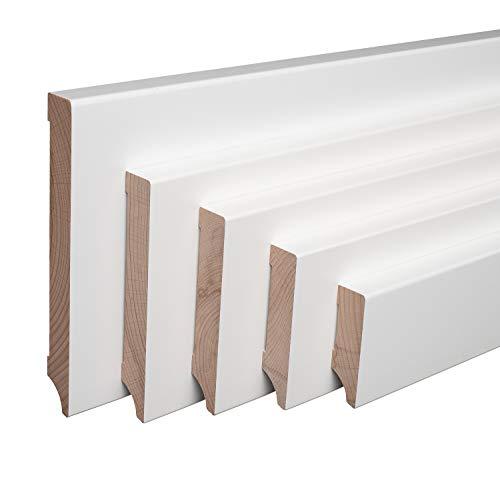 Echtholz-Sockelleisten Weiß lackiert Buche Massiv Weimarer Profil [SPARPAKET] (60mm Höhe, 1 Stück / 2,3lfm)