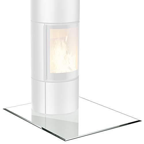 bijon® Glasplatte für Kaminofen Quadrat mit Dichtlippe Glasbodenplatte - Funkenschutzplatte Glas | Kamin Hitzeschutz | 90 x 90 cm – 6 mm ESG Kamin-Bodenplatte