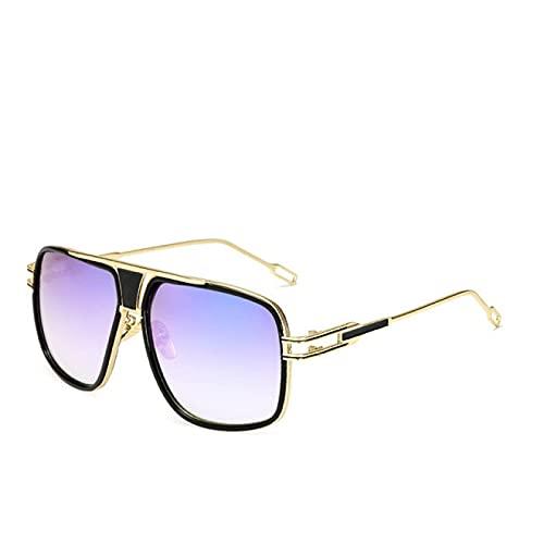 changjing Gafas de Sol para Hombre Hot Square, Gafas de Sol Retro uv400 Dorado-Violeta