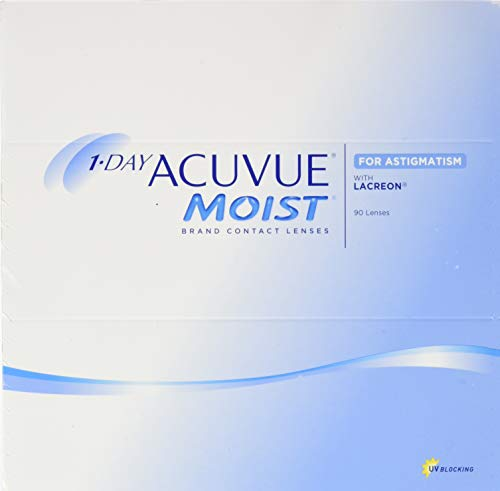 Acuvue 1-Day Moist For Astigmatism Tageslinsen weich, 90 Stück / BC 8.5 mm / DIA 14.5 mm / CYL -1.25 / ACHSE 50 / -0.5 Dioptrien