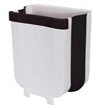 RV Lifestylez Space Saver Hanging Trash Can for Kitchen Cabinet Door - Wall Mounted Trash Can Under Sink Garbage Can Foldable Trash Bin for Bathroom Bedroom Car  Pearl White