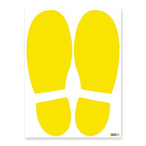 Paquete de 32 señales de vinilo autoadhesivas, diseño de huella de huella de color amarillo