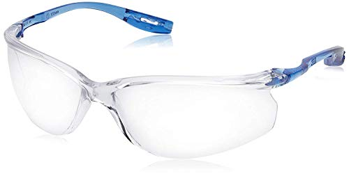 3M Tora (CCS) - Lunettes de sécurité incolores en polycarbonate sans monture avec branches bleues - Anti-buée, anti-rayures et anti-UV - 1 pièce