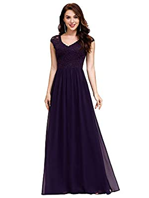 Ever-Pretty Women's V-Neck Lace Formal Party Dress Long Bridesmaid Dresses for Wedding Purple US16