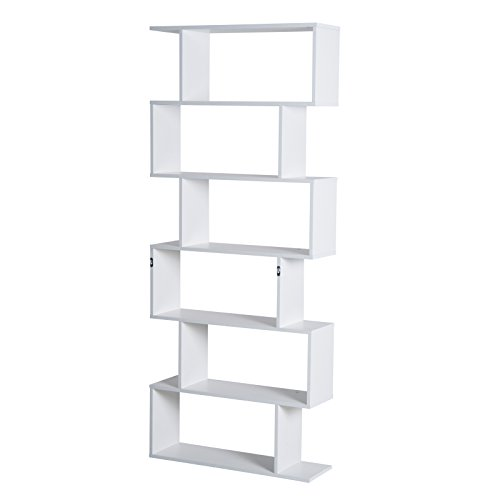 homcom Libreria ad S Moderna 6 Ripiani Legno Truciolato Classe E1, Ecologico e Durevole Rivestimento in Melammina Bianco 80×23×192cm