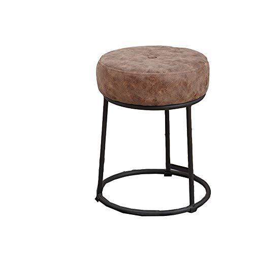 LUZEO Style Home Sitzhocker Rund Beinablage Sitzhocker Moderner Design Hocker, Runder Modeschemel Für Zuhause Hocker Kleine Bank Schuhbank,Braun