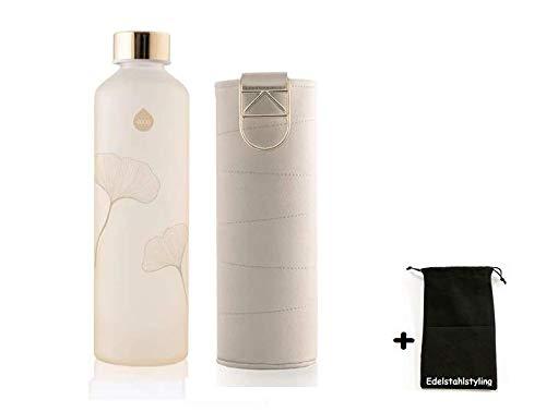 Equa Mismatch Ginkgo Glasflasche Trinkflasche Borosilikat Glas + Edelstahlstyling Stoffbeutel (750 ml, Kunstlederhülle BEIGE Metallgriff)
