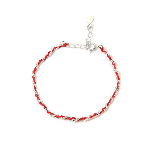 Red Rope Bracelet 925 Sterling Silver with 925 Sterling Silver Beads Bracelets Best for Friend