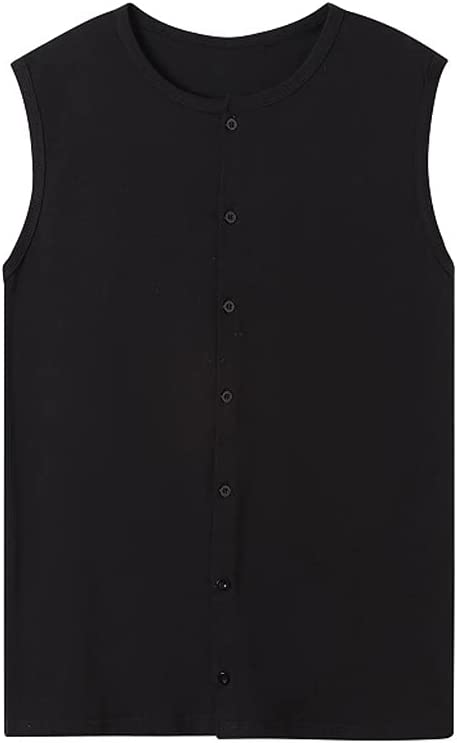 PDGJG Summer Men Large Loose Sleeveless Cardigan Round-Necked Row Button-Down Solid-Color Tank Top (Color : Black, Size : XXL Code)
