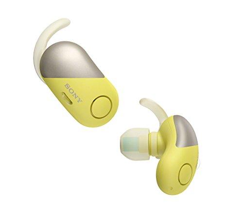 Sony WF-SP700N Cuffie Completamente Wireless con Noise Cancelling, Resistenti all'Acqua, con Alexa integrata, Compatibili con Google Assistant e Siri, Bluetooth, NFC, Giallo
