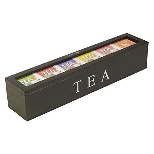 BSTOB Boîte de Rangement de thé en Bois, Organisateur de sachets de thé au Sucre de café avec récipient de Rangement à la Maison à 6 Compartiments