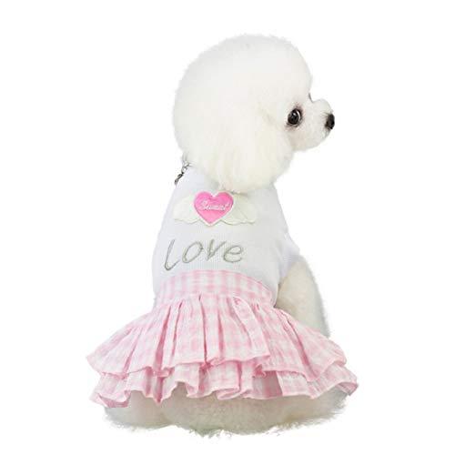 Huisdier, voorjaar en zomer, liefde, hart-druk, rok, hondenkostuum, huisdier, hondenkleding, zomer, huisdierkleding, hondenrok, huisdierkleding.