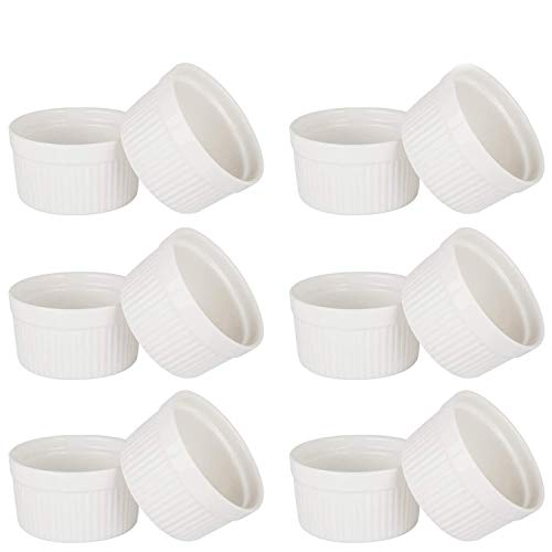 VIVILINEN Stampi Mini Dolci in Ceramica Anticalore Set di 12 Stampi per Torta Anticrepe Stampo di Muffi Cupcake 9cm, Pirottini per Soufflé, Bianco
