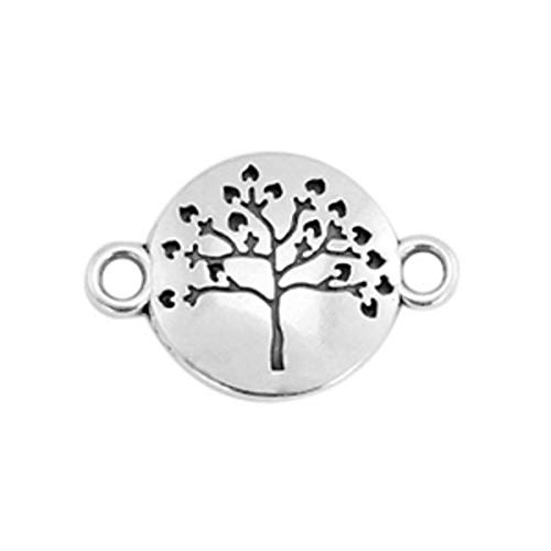 Sadingo DQ Metall Schmuckverbinder, Anhänger Lebensbaum - 1 Stück - 23 x 15 mm - Textil Armband basteln, DIY Schmuck, Farbe:Silber