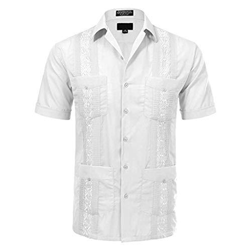 Dragon868 2019 Camisas Hombre Manga Corta con Bolsillo Bot/ón Rayas Verano Camisas Casuales Hombres