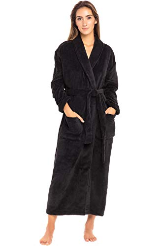 Alexander Del Rossa Women's Plush Fleece Robe, Warm Bathrobe, Small Medium Black (A0117BLKMD)