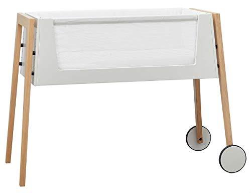 Linea Side-by-Side Bett, Beistellbett mit Matratze und Nestchen, Beine aus: Eiche