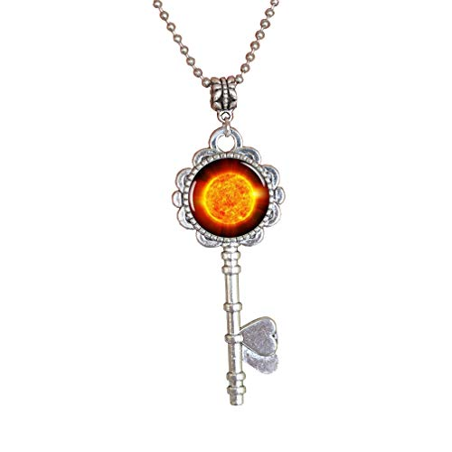 Space Pendant Key Necklace fire Sun Picture Jewelry Galaxy Key Necklace Planet Choker Universe Key Necklace,PU243