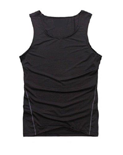 L&L Mens Sports Compression Base Layers Tops Tight Tank T-Shirts Vests (L, Black)