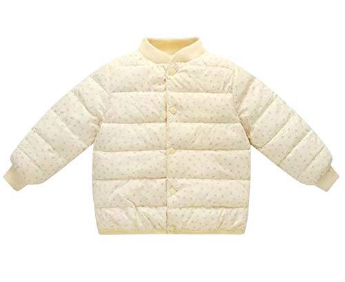 [ユリカー] キーズ ベビー ダウンジャケット ダウンコート 中綿ジャケット 防寒コート 丸首 長袖 冬 子供服 シンプル かわいい 暖かい 80mc-140cm 女の子 男の子 (イエロー,80cm)