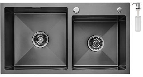 CECIPA Fregadero Cocina dos Senos Negro,78cm*43cm Incluyendo Dispensador de Jabón, Rebosadero y Juego de Desagüe I Sobre Encimera o Enrasado