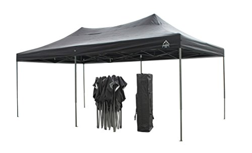 All Seasons Gazebos, Choice of colours, 3x6m (10ft x 20ft) Heavy Duty, Fully Waterproof, PVC Coated, Premium Pop Up Gazebo + Carry Bag With Wheels & 4 x Superior Leg Weight bags. (Black)