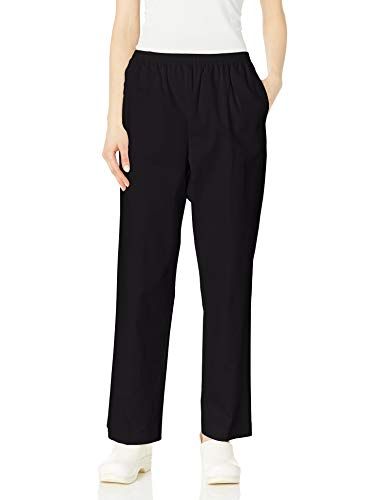 Alfred Dunner Women's Medium Twill Pants All Around Elastic Waist Cotton, Black, 16