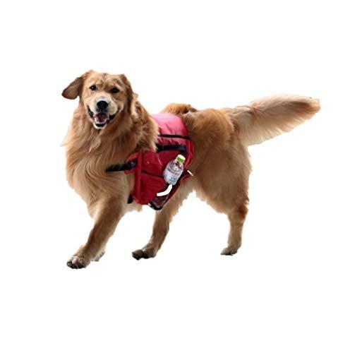 Ducomi Arnés portaobjetos para perros con bolsas – Mochila de sillín para viaje, camping, senderismo, arnés con correa y ganchos ajustables – Bolsillos para cuencos, agua, croquetas (Red)